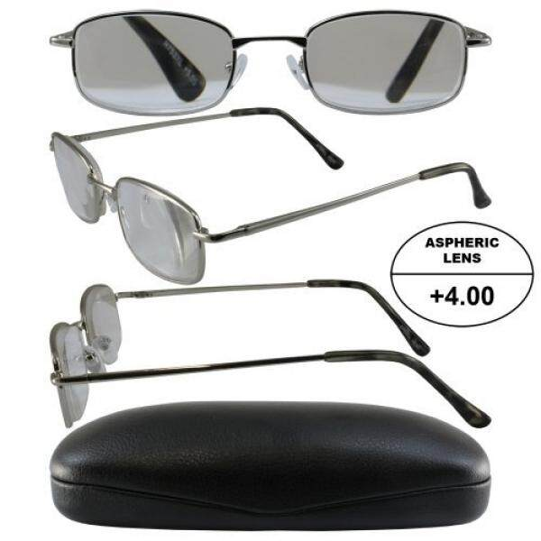 Pria Bertenaga Tinggi Kacamata untuk Membaca: Bingkai Perak dan Hitam Case + 4.00 Pembesaran Aspherical Lensa/dari Amerika Serikat