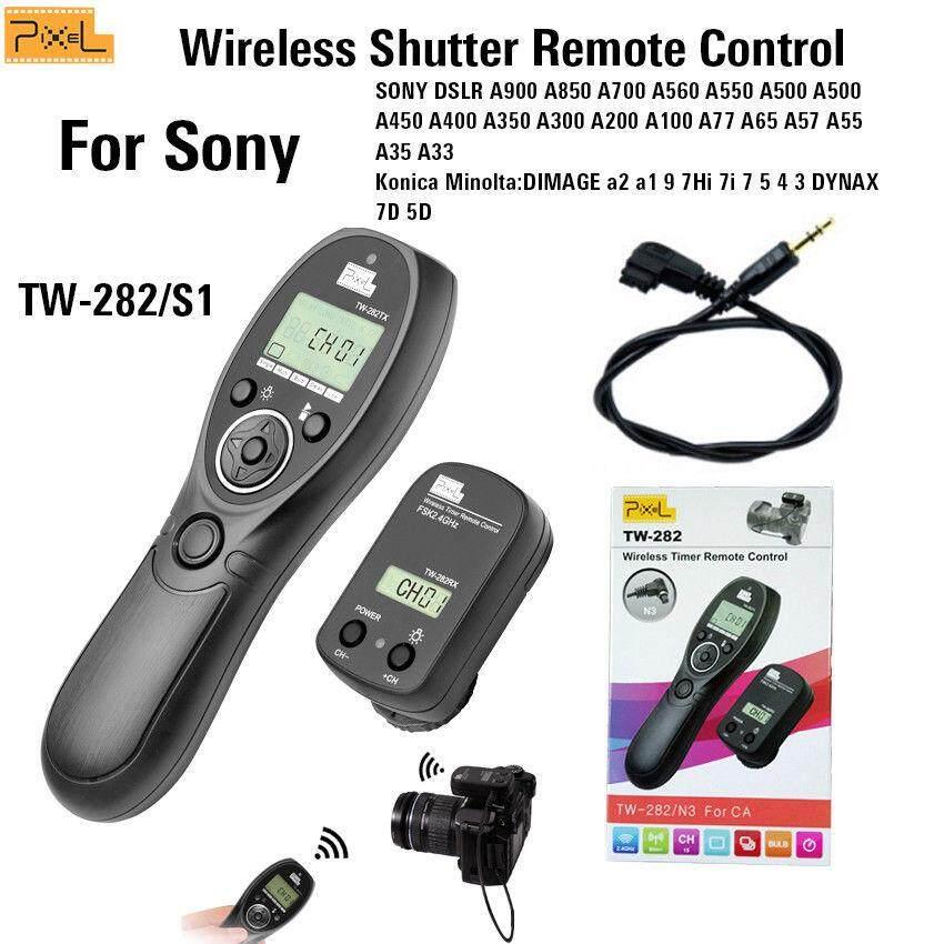 Pixel TW-282 S1 2.4G Pengatur Waktu Wireless Remote Kontrol Pengatur Cahaya Kamera Pelepasan Rana Penerima dan Pemancar untuk Sony A99 A99II A77 A77II A56 A57 Konica Minolta DIMAGE a2 A1 9 7HI 7I 7 5 4 3 Dynax 7D 5D