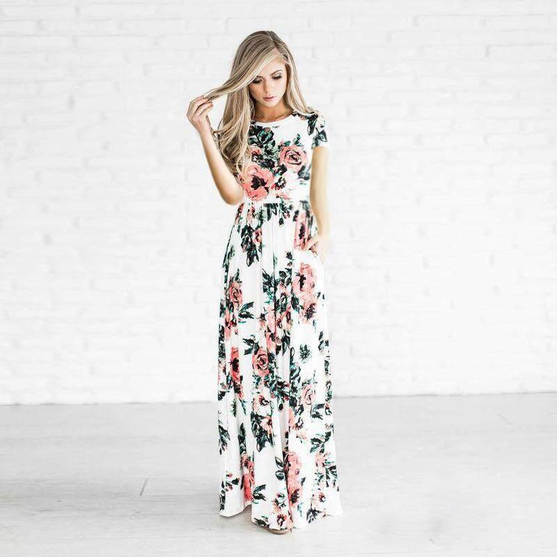1c3545d4f9 Zzooi Bohemian Maxi Dress 2018 Spring Summer Floral Print Elegant Party  Beach Boho Long Dresses Women