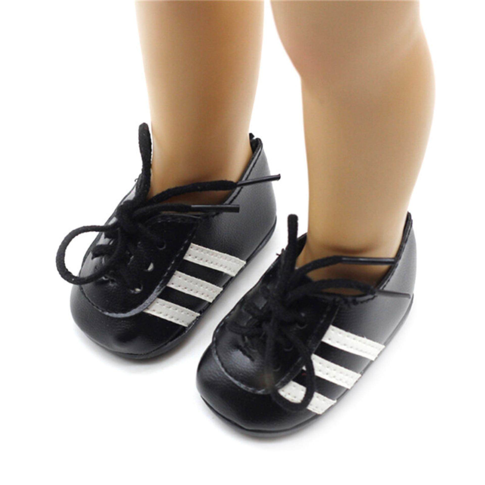 1 Pair Doll Black PU Leather Shoes For 18 Inch American Girl 43cm Zapf Baby  Born 12b6b7899a63