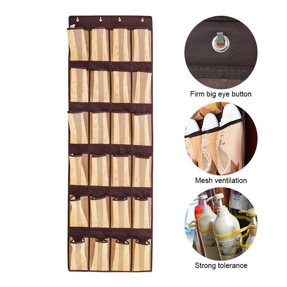 leegoal Hanging Shoe Organizer Non-woven Shoes Storage Rack Behind Door Free Nail Bedroom Tie Waistband Storage Bag On Walls(28*27*0.6cm)