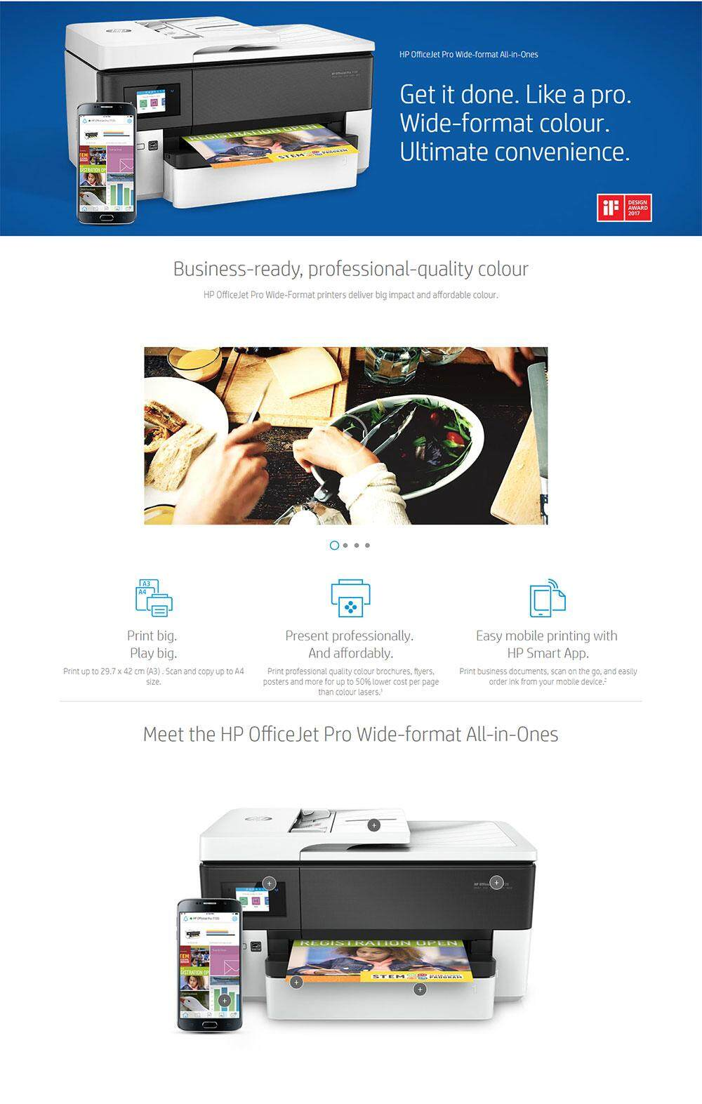 HP Officejet Pro 7730 A3 AIO Printer - Print , Scan , Copy , Fax , Wireless  , Network , 2 tray & Duplex   PrestoMall - Printers