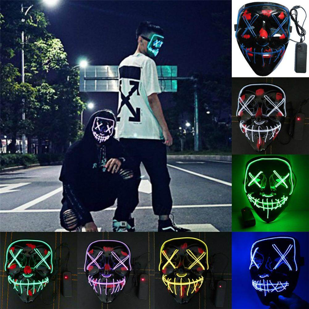 Led halloween mask el wired light up purge election cosplay new year party glow