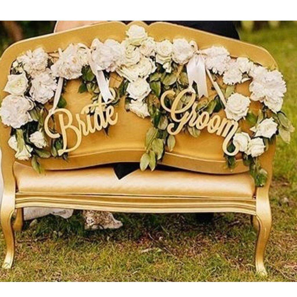 BolehDeals 2pcs Shabby Chic Bride Groom Letters Wedding Chair Banner Sign Wooden Party Decorations Photo Prop DIY Craft