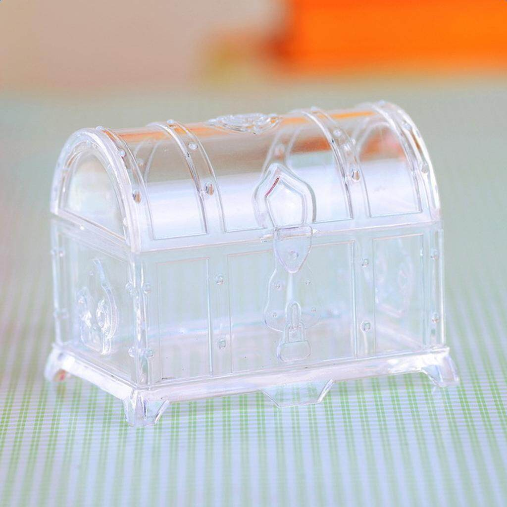 GuangquanStrade 12 Pieces Treasure Chest Style Sweets Candy Boxes Wedding Gift Favor Clear