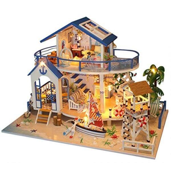 Kayu Doll Rumah Miniatur DIY Rumah Perlengkapan Ruang Kreatif dengan Furniture Ulang Tahun, Valentine, Kerajinan Tangan, kolektor Hadiah untuk Pecinta, Teman dan Anak-anak-Legend dari Biru Laut-Internasional
