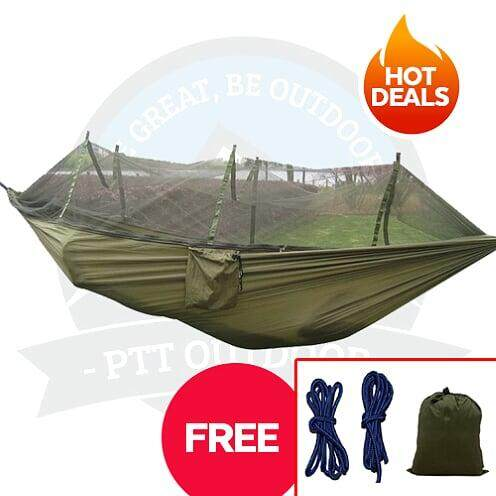 [LOCAL DELIVERY] Hammock With Mosquito Net for Outdoor Camping with Portable High Strength Fabric - Army Green