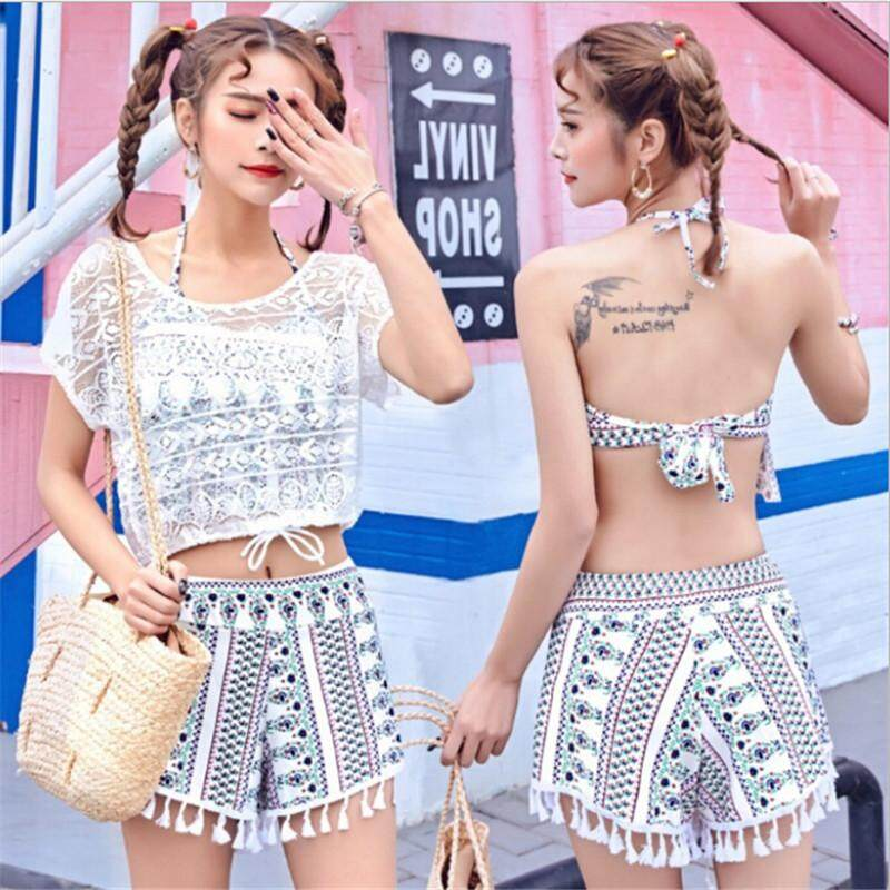 3 Pcs Baju Renang Setelan Selancar Pakaian Renang Baju Renang Wanita Pakaian  Mandi Berenang Cocok untuk 2ea53449f2