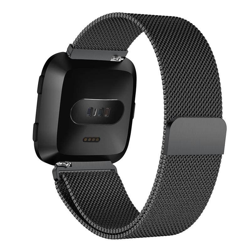 For Fitbit Versa Sport Watch Band Replacement Milanese Magnetic Clasp Stainless Steel Strap Straps Wristwatch Black
