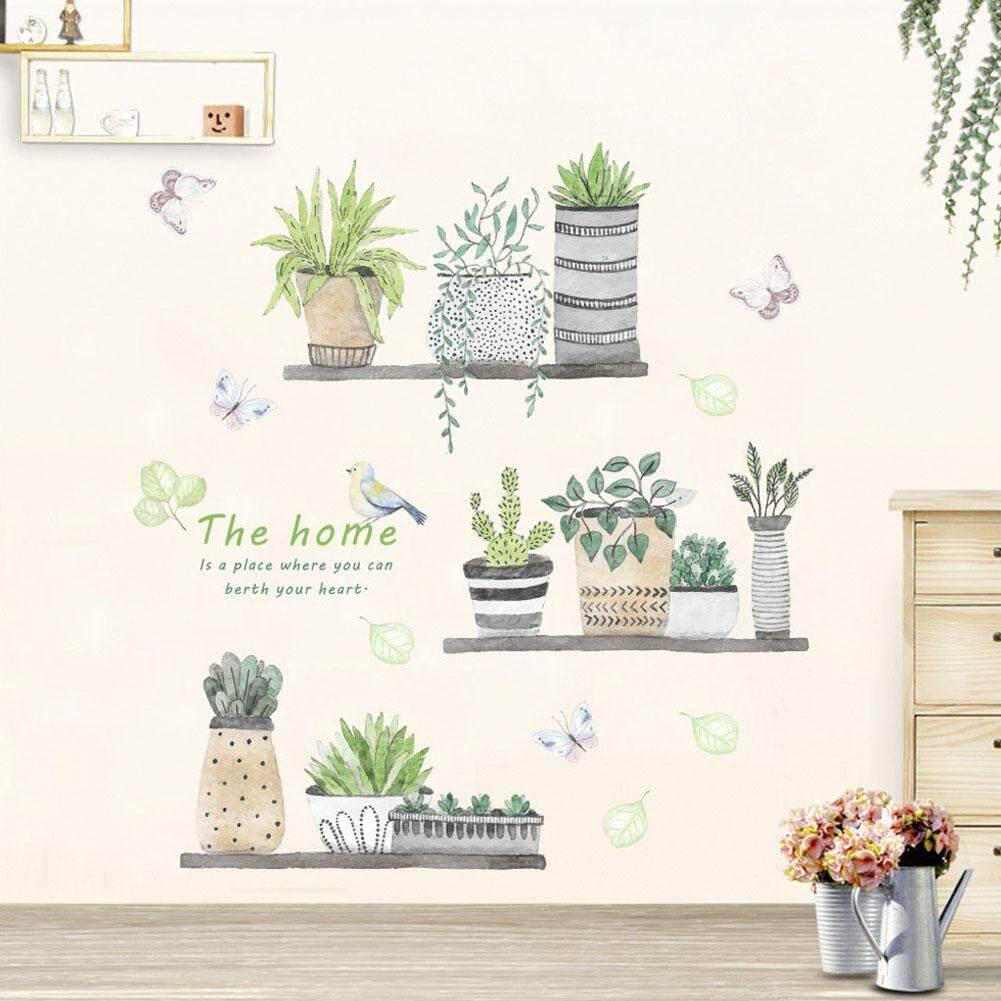 HiQueen DIY Garden Plant Bonsai Pattern Wall Sticker Decor for Living Room  Kitchen Wall Decoration