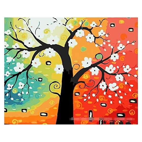Diy oil painting, paint by number kit- Abstract tree 16*20 inch
