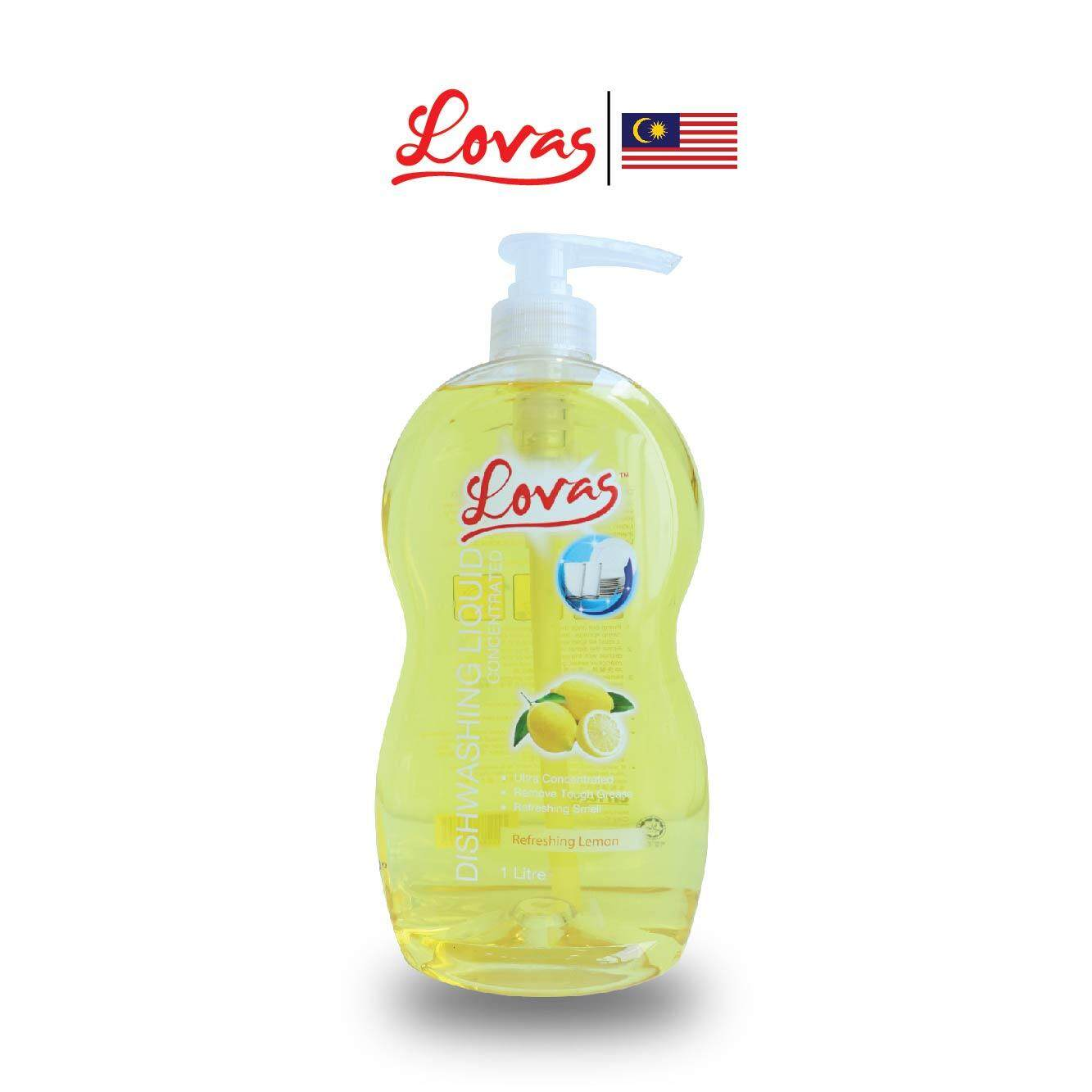 LOVAS Dishwashing Liquid Concentrated - 1L [Lemon] - Oil & Grease Remover