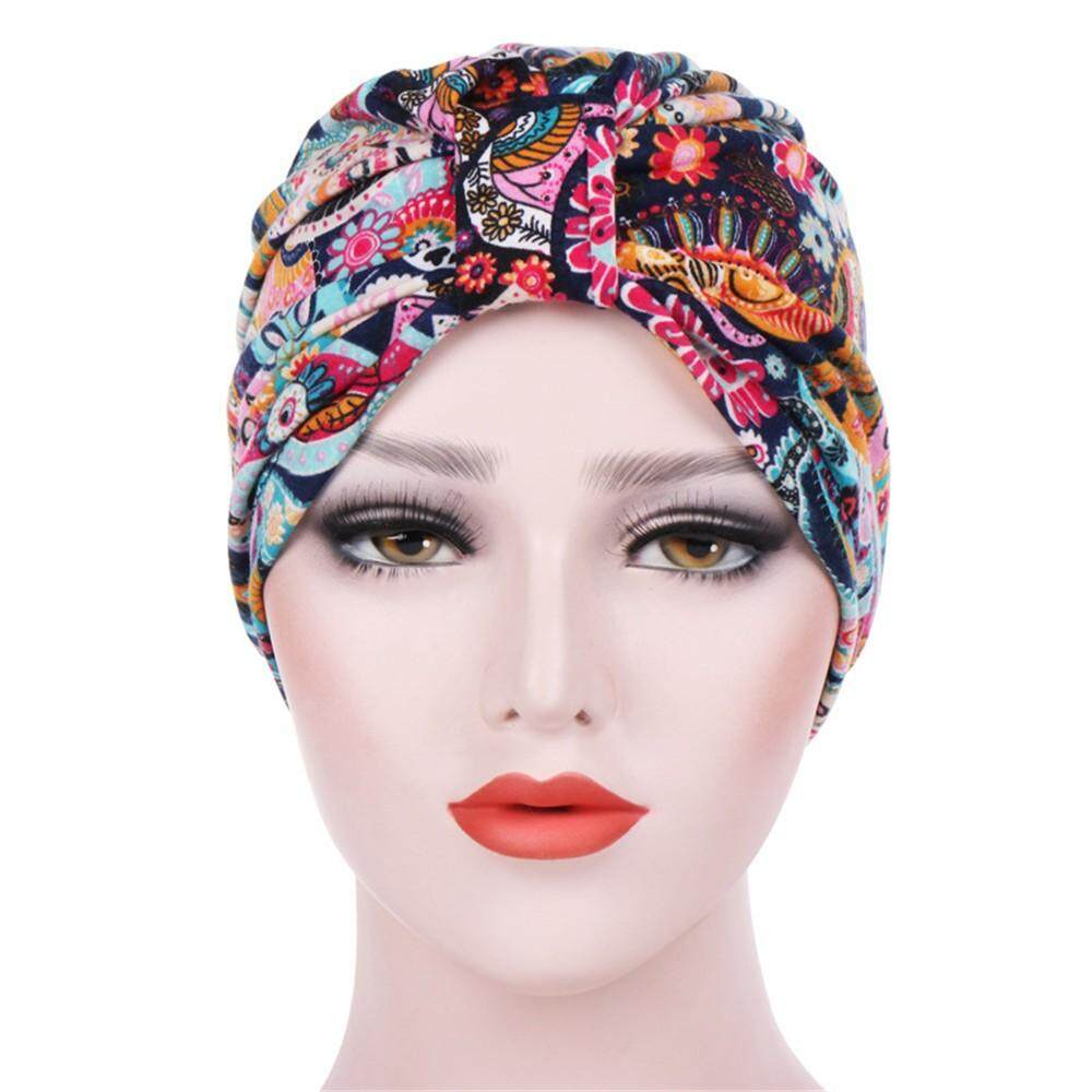 a3ec9c35f Bloomy-Women India Muslim Stretch Turban Hat Floral Cotton Hair Loss Head  Scarf Wrap