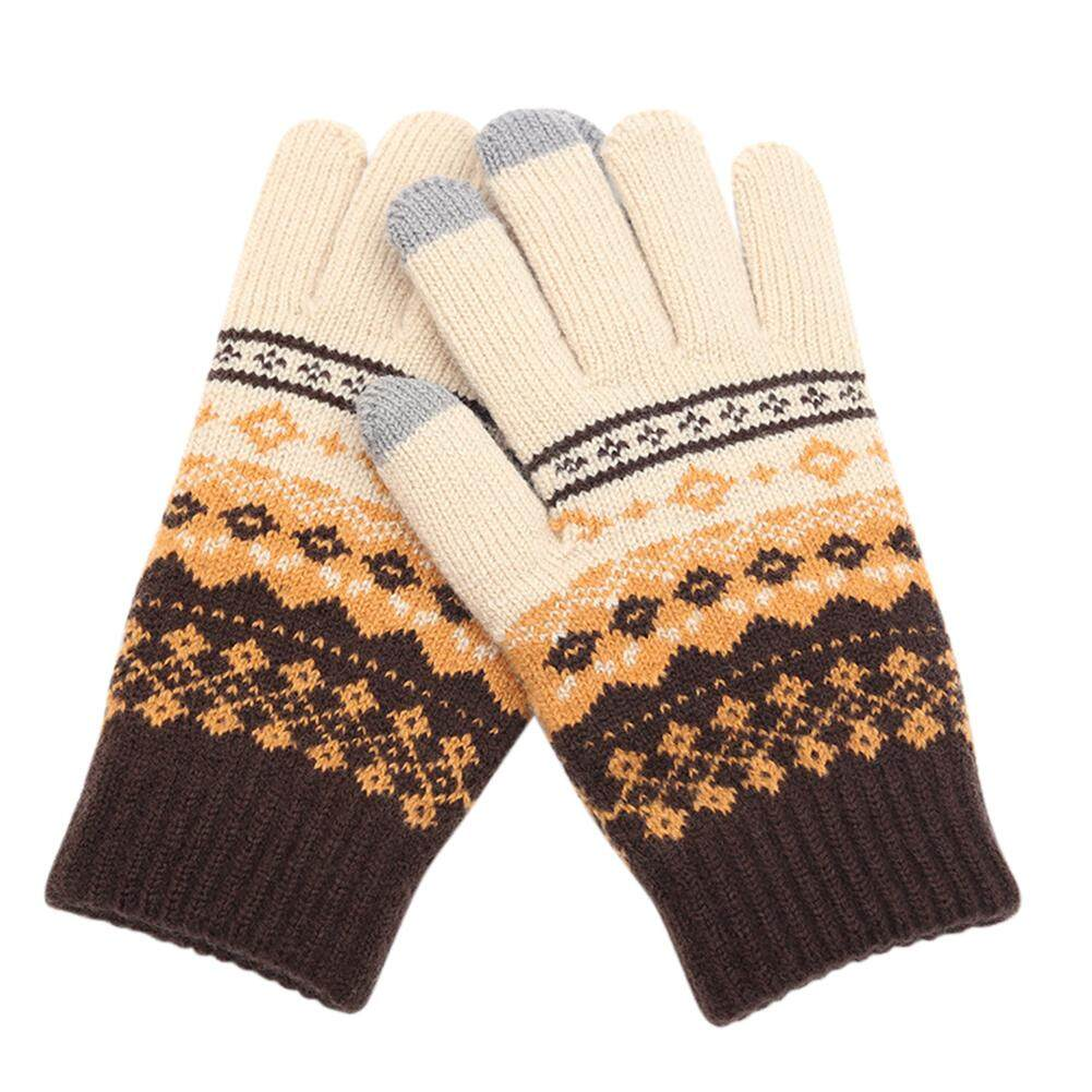 eeea8ca08 Redcolourful Stylisn Winter Plush Knitted Gloves Warm Thicken Touch Screen  Telefingers Mittens for Outdoor