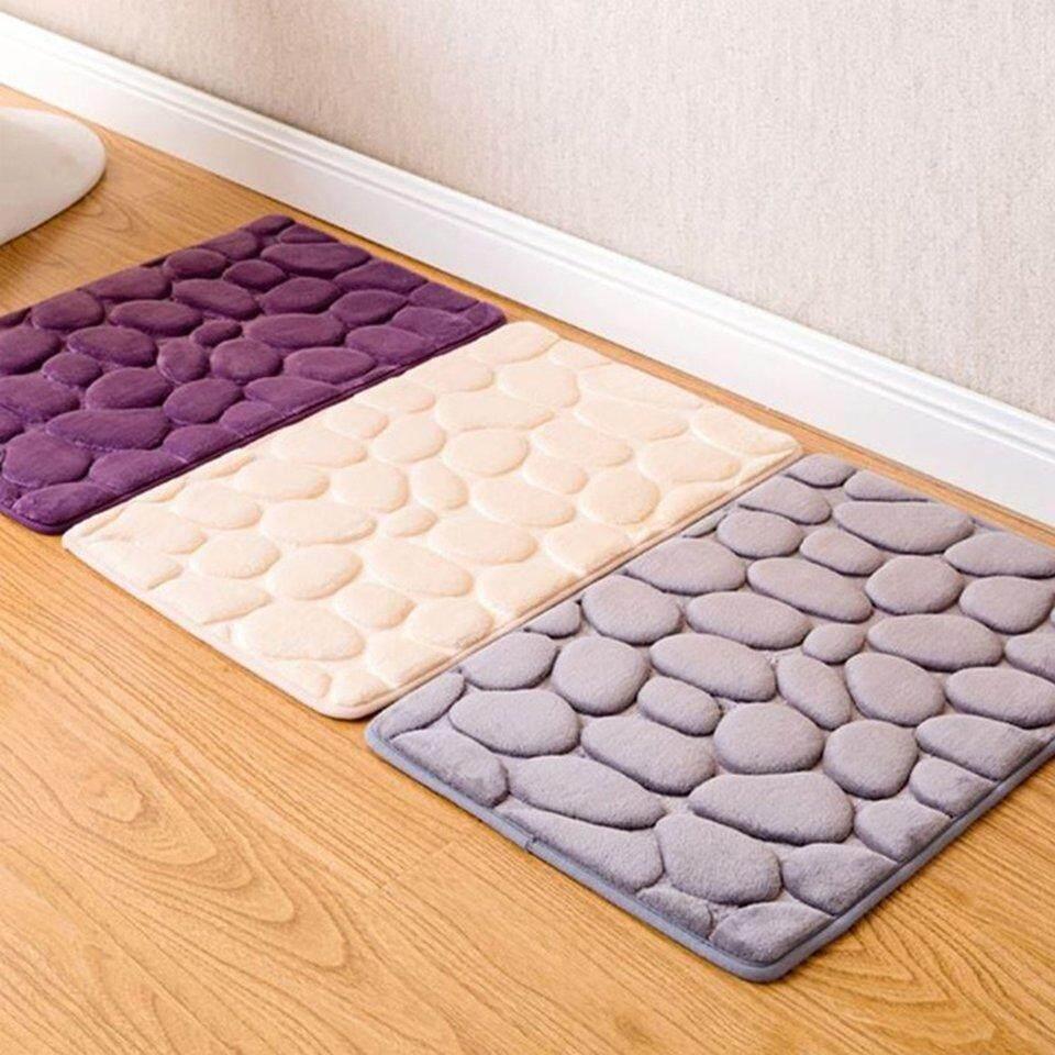 Cukup Non-Slip 3D Batu Warna Solid Rumah Karpet Kamar Mandi Dapur Keset