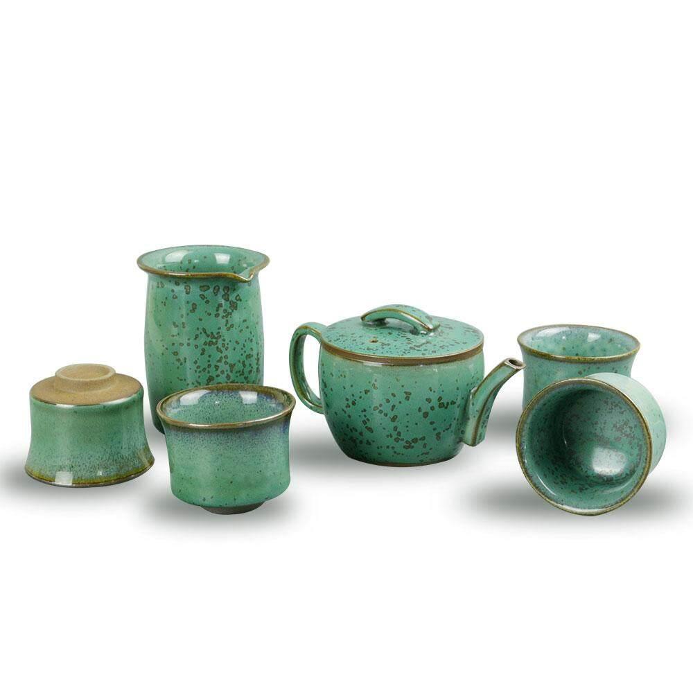 Rp1.037.000Baru Cina Peta Jun Kiln Merak Hijau Han Ubin Set Cangkir dan Teko Teh Porselen Tiongkok Cangkir Teh Gongfu Pot Teh Cocok untuk Pu-Er/Oolong ...