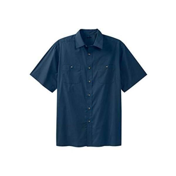 KingSize Mens Big & Tall Easy-Care Short-Sleeve Solid Sport Shirt,Navy,Big - 3XL - intl