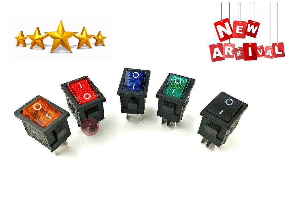 KCD1 On-Off 4Pin Boat Car Rocker Switch 6A/10A 250V/125V AC Red Yellow  Green Blue Butto KCD1
