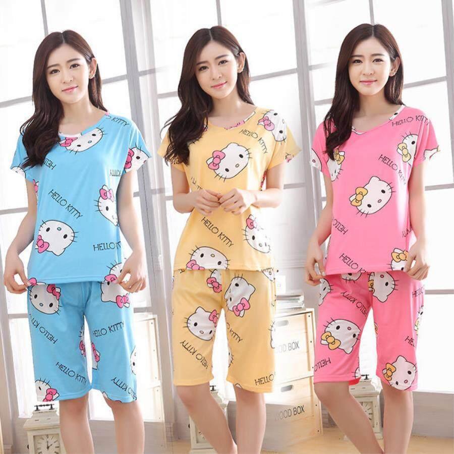 2a6b1094d1 Set Of 2 Pcs Women Summer Sleepwear Casual Cute Short Sleeved Pajamas - intl