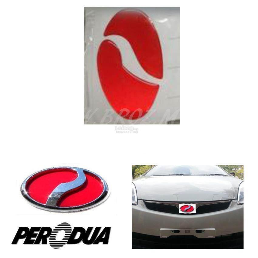 Broz PERODUA AXIA 2017 Red Front & Rear Emblem Logo
