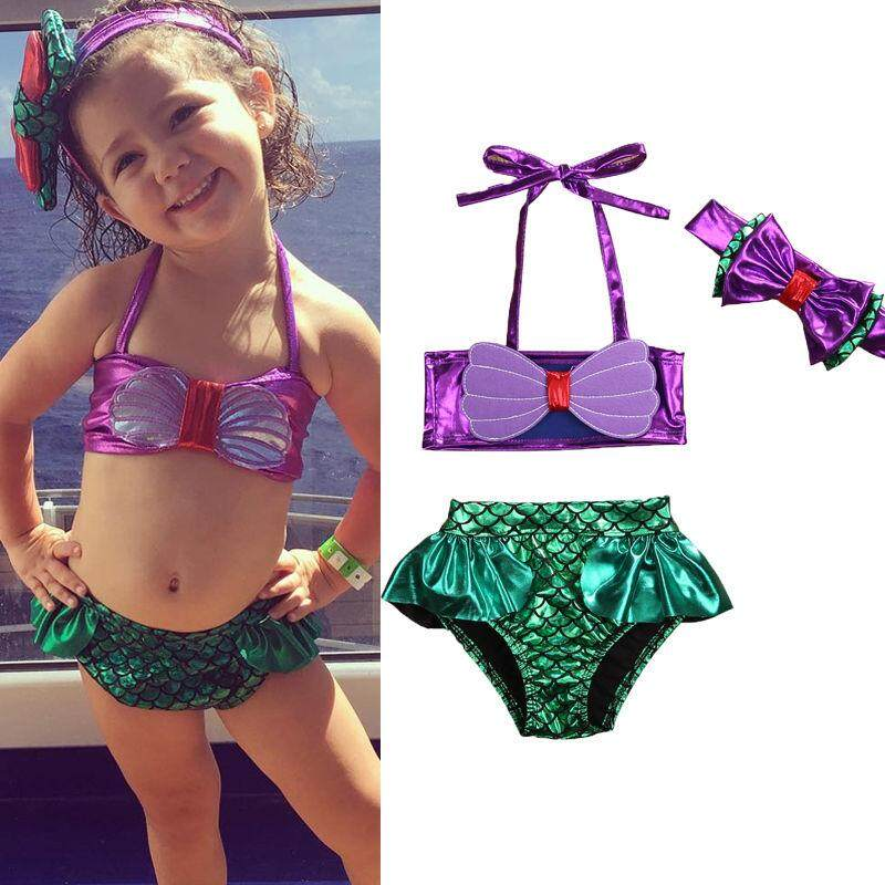 Kids Baby Girls Mermaid Swimsuit Swimwear Bathing Suit Tankini Bikini