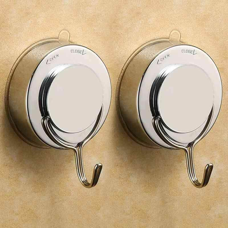 Premium Suction Cup Hook with Plating Vacuum Traceless Hooks for Smooth Wall Shower Kitchen Window Bathroom Hook Bag Coats Towels Caps Holder (2pcs)