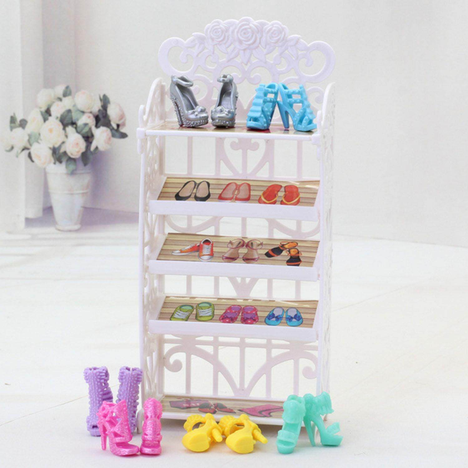 Doll Shoes Rack Cabinet Furniture Accessories for Barbie Toys Children Kids Girls Birthday Xmas Gift - intl