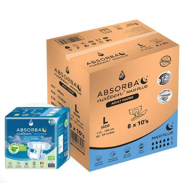 Absorba Nateen Maxi Plus (L) 10's x 8 Pack