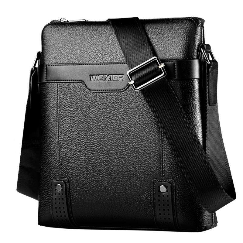 Mens Shoulder Bag New PU Anti-wrinkle Wear Gentleman Business Bag Black Canvas with Diagonal Cross Bag