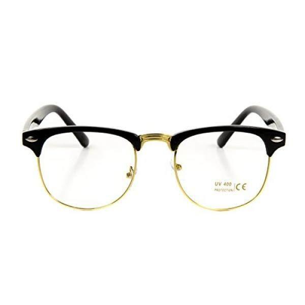 ed2de7582c Goson Classic Black Gold Frame Clear Lens Horned Rim Clubmaster Glasses  50mm - intl