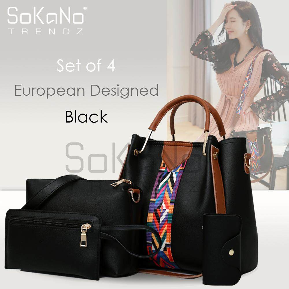 SoKaNo Trendz SKN849 Large Capacity European Designed Luxury Tote Bag (Set Of 4) Handbeg Wanita