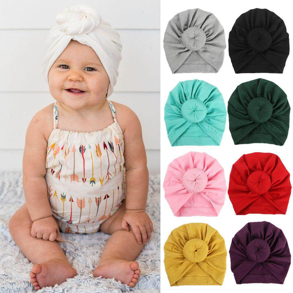 c1b21fee 12 Color Cute Newborn Baby Hat Kids Knot Cap Cotton Winter Soft Turban  Bunny Head Wrap
