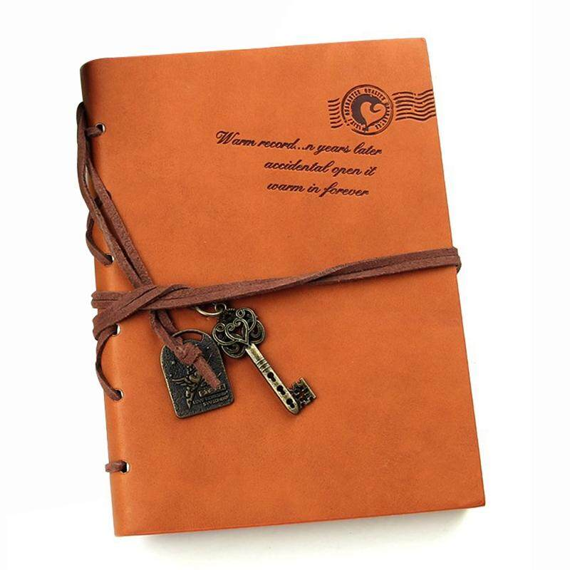 Classic Retro  Leather Bound Blank Pages Journal Diary Notepad Notebook Orange 143*105*20mm.