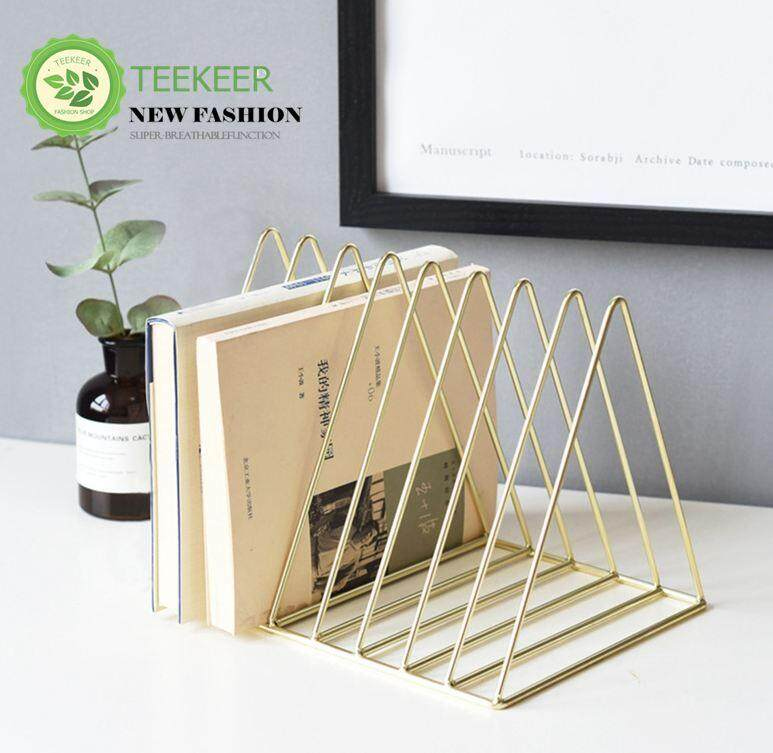 Teekeer Triangle Book Rack Holder Foonee 9 Sections Iron Art Vintage Desktop File Organizer