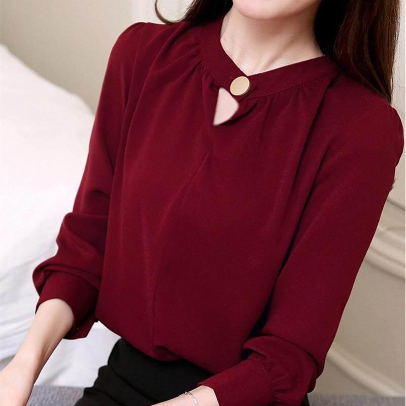 2018 สตรีท็อปส์และเสื้อแขนยาวเสื้อชีฟองสุภาพสตรี Tops ผู้หญิงเสื้อเสื้อสำนักงานสีขาว.