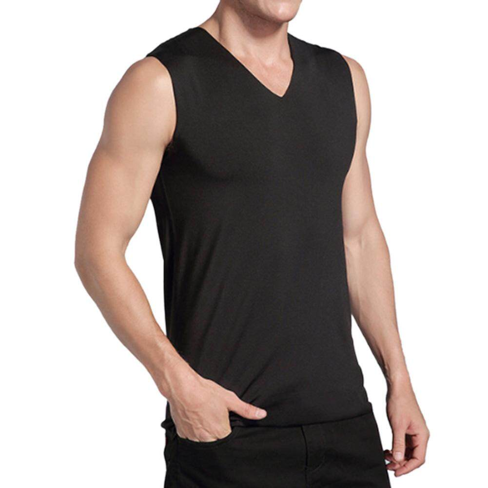 0b40b83a9dae7 Hossen Men Solid Color Traceless V-neck Sleeveless Thicken Undershirt Warm  Winter Tank Top