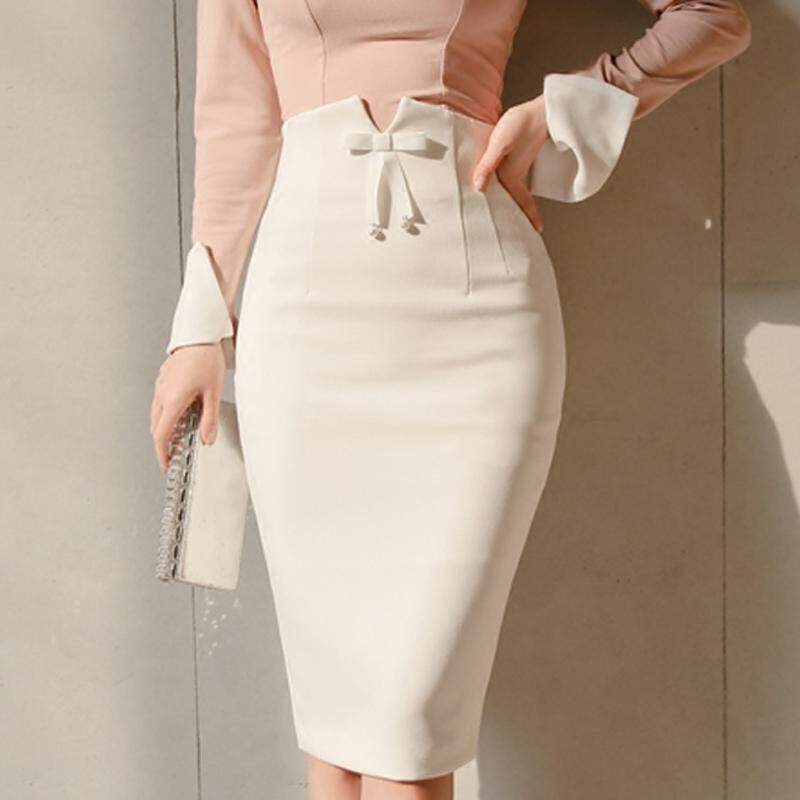 Mode untuk Wanita Tinggi Pinggang Rok A-line Pensil Biasa Rok Midi Kantor Pakaian Wanita