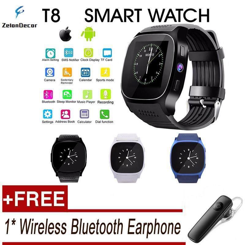 [Get 1 Bluetooth Earphone Secara Gratis] Zelondecor Penjualan Terlaris T8 Smartwatch Layar Sentuh Sim