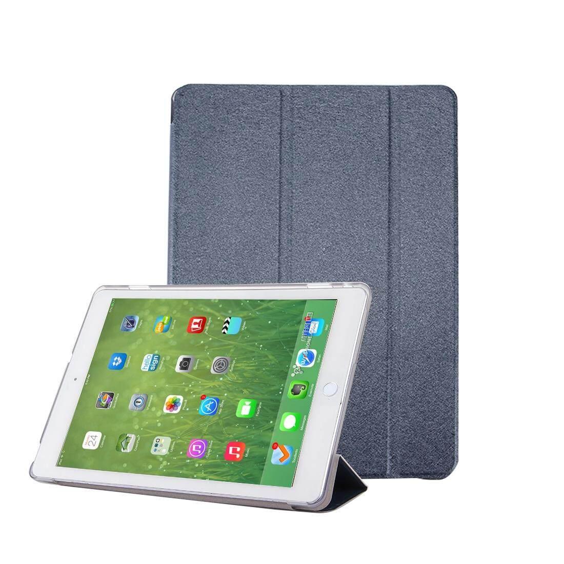 Untuk Huawei MediaPad M3 Lite 10.1 Inch Tekstur Sutra Kulit Horisontal Lipat Case dengan 3-Lipat Penahan & Tidur /Wake-Hingga Fungsi (Gelap Biru) -Internasional