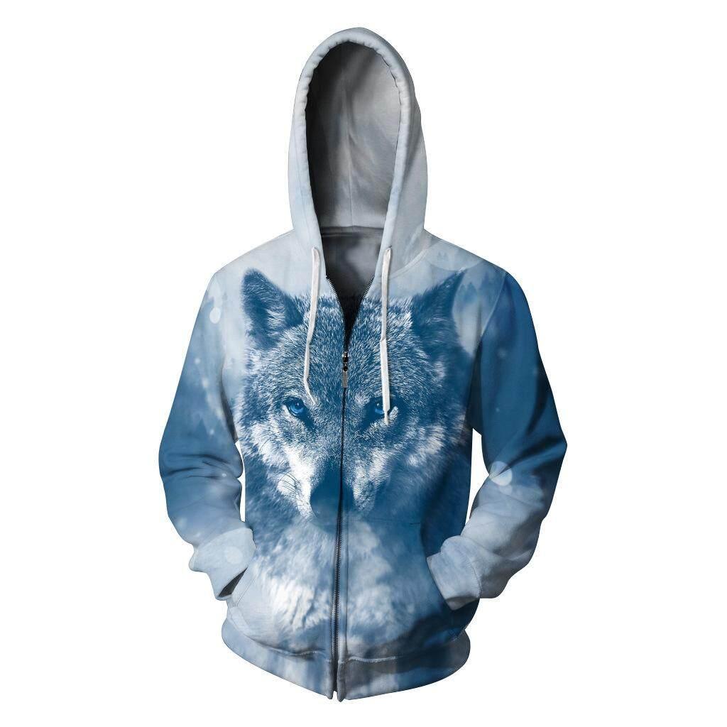 Salju Jaket Tudung Serigala Digital Printing Pakaian Pasangan Berkerudung Sweter Ukuran Besar Pakaian Olahraga Ritsleting Seragam Bisbol-Intl
