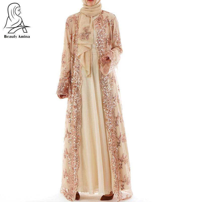 Sequin Embroidery Abaya Muslim Wear Cardigan Robe Plain Kaftans Long Sleeve Maxi Long Dress For Women Kimono By Onebetter.