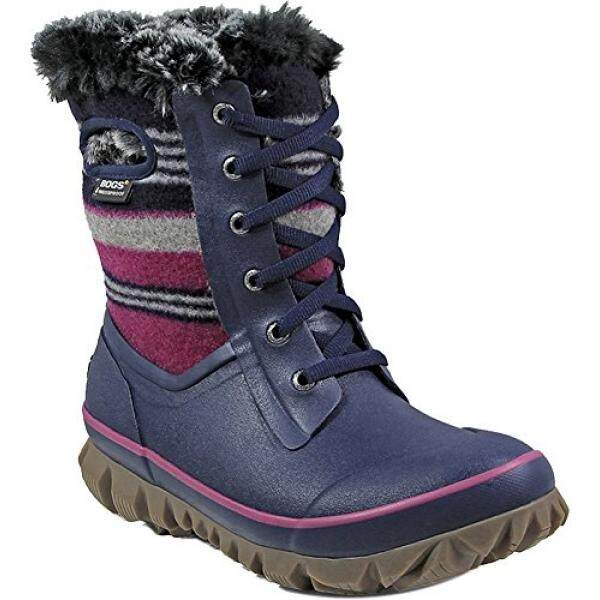 Bogs Womens Arcata Sripe Snow Boot Dark Blue Multi Size 8 - intl