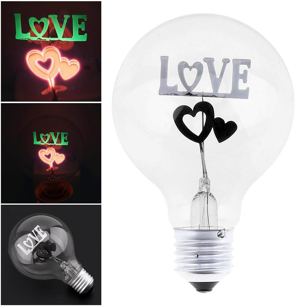 G80 2W E27 220V Double Heart Flame Bubble Decorative Led Light Bulb