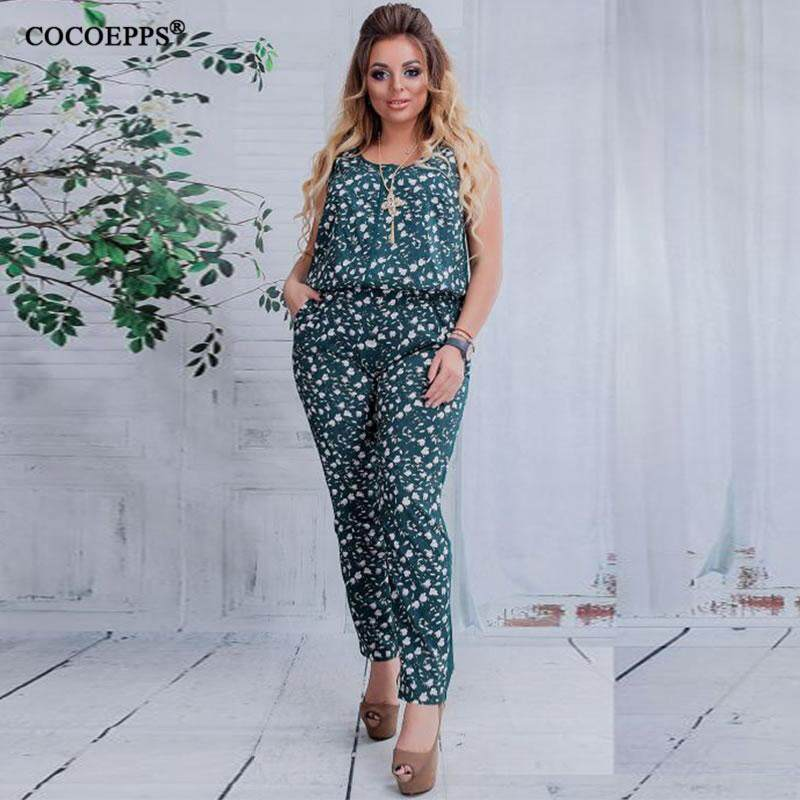 Cocoepps Summer 5XL 6XL Plus Size Jumpsuit Women 2018 Floral print Romper Clothing  Big Size Large b1f86074e551