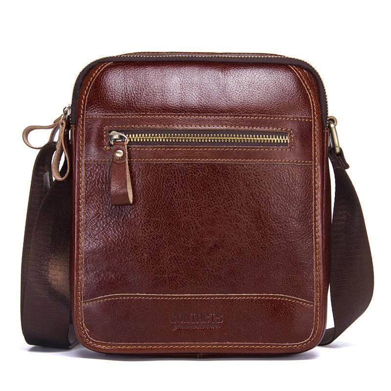 27d0a9c022 CONTACT S MB076 New Fashion Cowhide Man Messenger Bags Small Genuine  Leather Male CrossBody Bag Casual Men