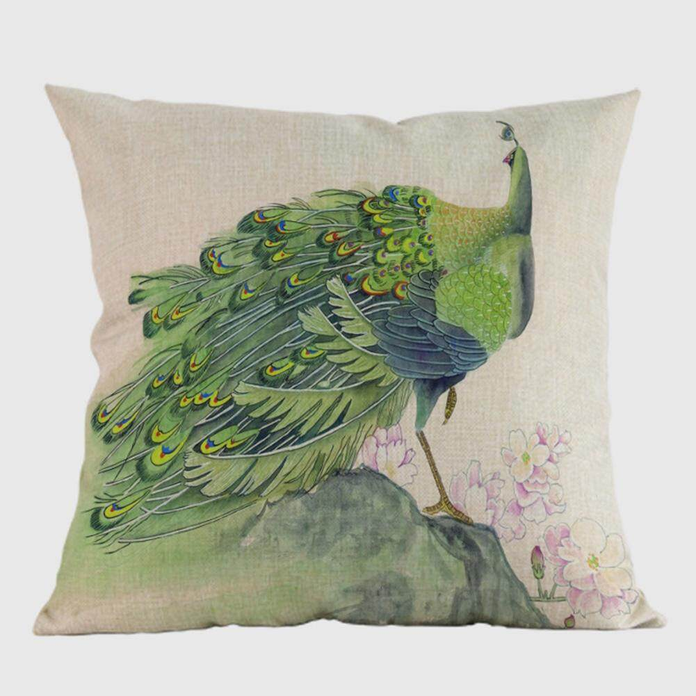 Home Hotel Sofa Pillowcase Car Back Cushion Covers Peacock Pattern Printed Cotton Linen Decorative Pillow Case Specification:D - intl