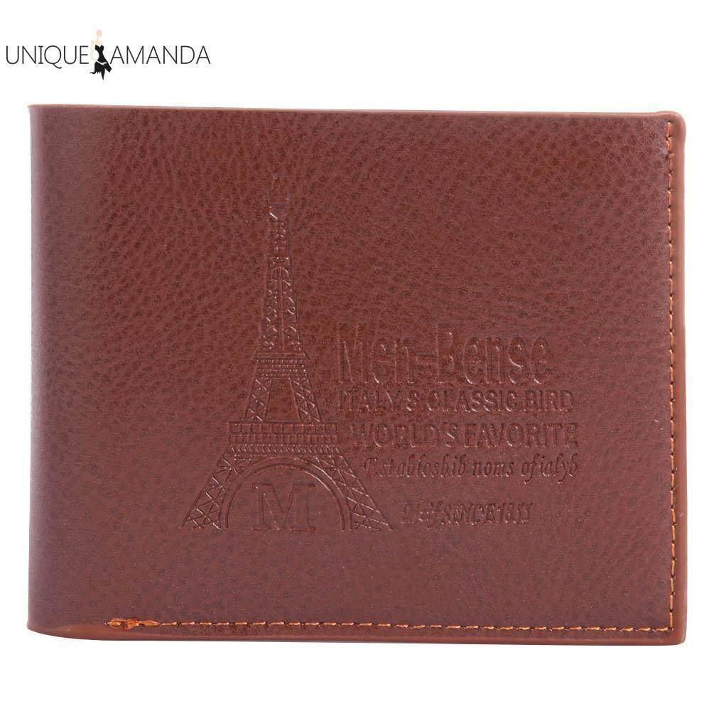 Litchi Pattern Men Short Wallets Multifunctional PU Flap ID Card Holder Coin Purses Đang Trong Dịp