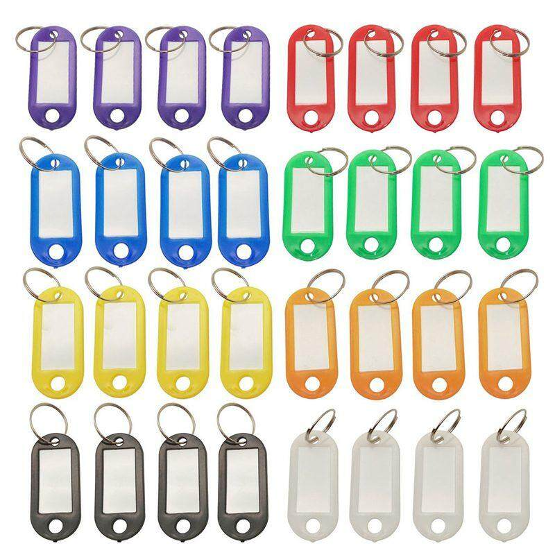 32x Multi-colors Plastic Key Fob ID Tags Luggage ID Labels with Split Ring Keyring