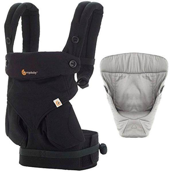 Ergobaby Bundle - 2 Items: Pure Black Four Position 360 Baby Carrier and Easy Snug Infant Insert Grey - intl