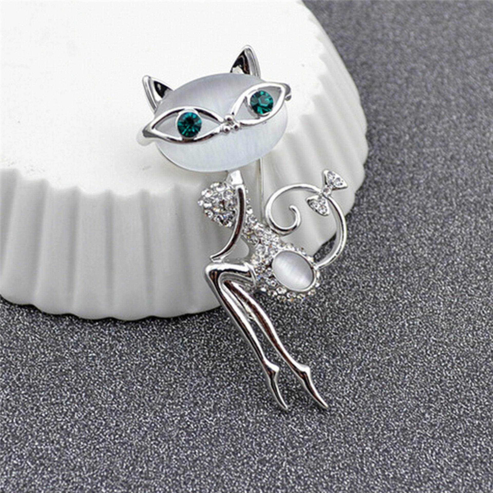 Berlian Tiruan Opal Kristal Kecil Jepit Bros Kucing Hewan Lucu Perhiasan Seksi Fashion